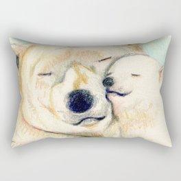 Polar bears, mother and child Rectangular Pillow