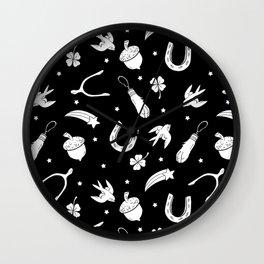 A Little Luck - on Black Wall Clock