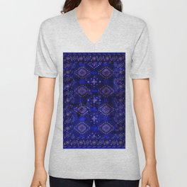 N128 - Royal Blue Traditional Oriental Moroccan Style Design  Unisex V-Neck