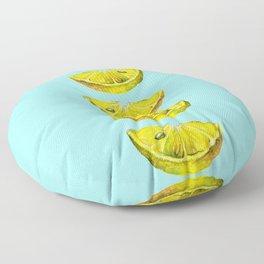 Lemon Slices Turquoise Floor Pillow