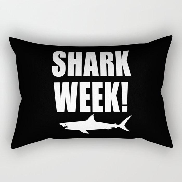 Shark week (on black) Rectangular Pillow