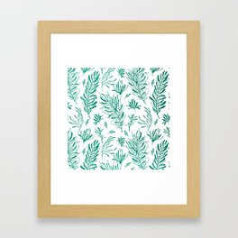 Elegant emerald green glitter foliage Framed Art Print