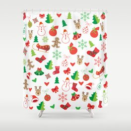 Happy New Year and Christmas Symbols Decoration Shower Curtain