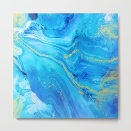 Abstract Acrylic Marble Paint Pattern Texture #1 - Blue, Gold Metal Print