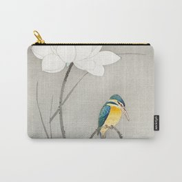 Kingfisher sitting on a lotus flower - Vintage Japanese Woodblock Print Art Carry-All Pouch