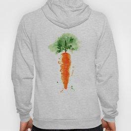 Watercolor orange carrot. Organic vegetable. Original watercolour illustration. Hoody