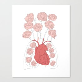Lungs and heart floral anatomy Canvas Print