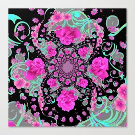 CERISE PINK ROSES & TURQUOISE RIBBONS ON BLACK Canvas Print