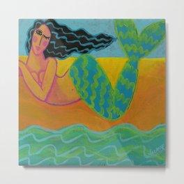 Mermaid on the Beach Abstract Painting Metal Print