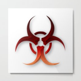 Rusty Biological Hazard Symbol Metal Print
