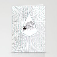 all seeing eye Stationery Cards featuring All Seeing Eye by Rachel Hoffman