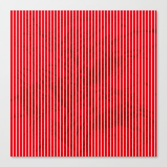 Red grunge stripes on white background Canvas Print