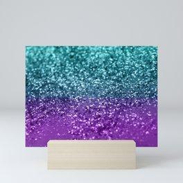 Purple Teal MERMAID Girls Glitter #1 #shiny #decor #art #society6 Mini Art Print