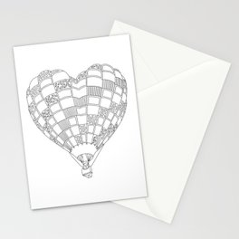 Heart Hot Air Balloon, Adult Coloring Illustration Stationery Cards
