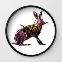 hare Wall Clocks featuring Hare by MACACOSS