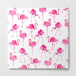 Floridian Flamingos - White Metal Print