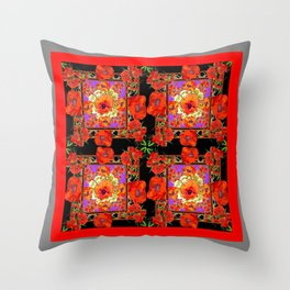 GREY & BLACK ART RED DECO ORANGE-RED POPPIES Throw Pillow