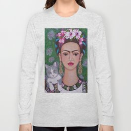 Frida cat lover closer Long Sleeve T-shirt