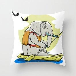 ELEPHANT KAYAKING Throw Pillow