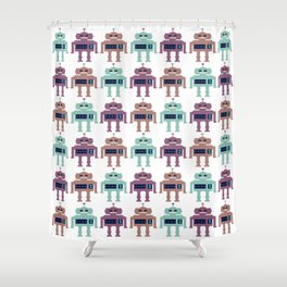 Vintage Toy Robots Shower Curtain