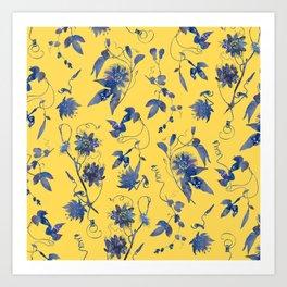Elegant Blue Passion Flower on Mustard Yellow Art Print