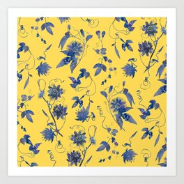 Elegant Blue Passion Flower on Mustard Yellow Kunstdrucke