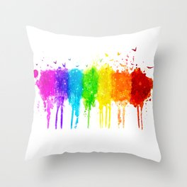Seven Chakra Watercolors - 02 Throw Pillow