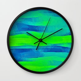 Lime Green & Blue Stripes Abstract Wall Clock