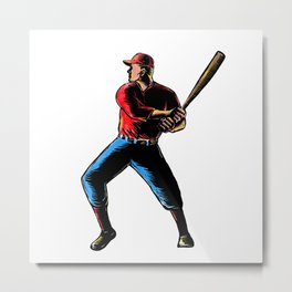 American Baseball Player Batting Scratchboard Metal Print