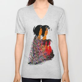 Family Colorful Abstract Art Unisex V-Neck