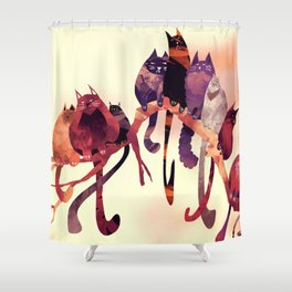 Cat-Birds on a Wire Shower Curtain