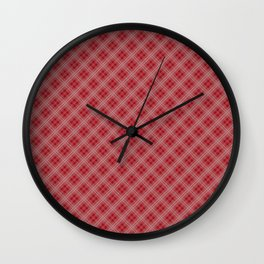 Christmas Cranberry Red Jelly Diagonal Tartan Plaid Check Wall Clock