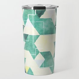 Abstract Green Triangles, Watercolor Pattern Travel Mug