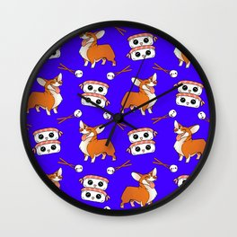 Cute cuddly funny baby corgi dogs, happy cheerful sushi with shrimp on top, rice balls and chopsticks pretty midnight blue pattern design. Wall Clock