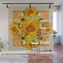 Western Style Lilac Color Golden Sunflowers Gold Pattern Art Wall Mural