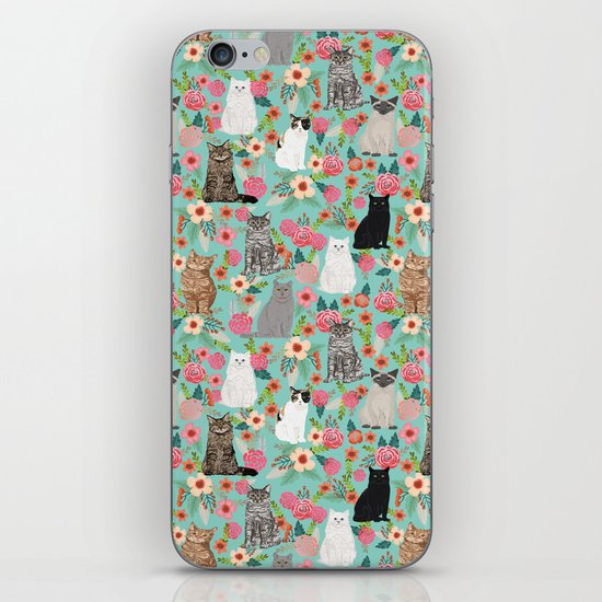 Cats floral mixed breed cat art cute gifts for cat ladies cat lovers pet art by catclub
