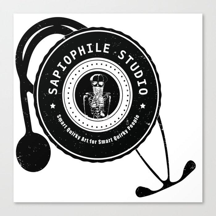 Sapiophile Studio Logo Skeleton Stethoscope Canvas Print by sapiophilestudio