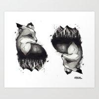 Black & Grey Foxes Art Print