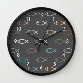 Ichthus with Cross Christian Fish Symbol Wall Clock