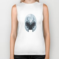 magneto Biker Tanks featuring Magneto helmet only by Tony Vazquez