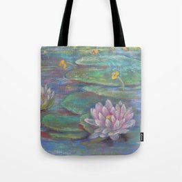 WATER LILIES Pastel drawing Zen style Landscape Yoga room decor Tote Bag