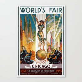 Vintage World's Fair Chicago IL 1933 Canvas Print