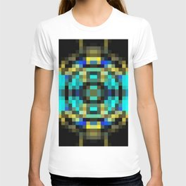 geometric square pixel abstract in blue and yellow with black background T-shirt