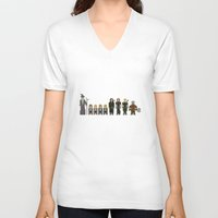 lotr V-neck T-shirts featuring 8-bit LOTR The Fellowship of The Ring by MrHellstorm