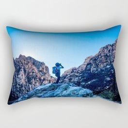 Boys Adventure | Rustic Camping Kid Red Rocks Climbing Explorer Blue Landscape Nursery Photograph Rectangular Pillow