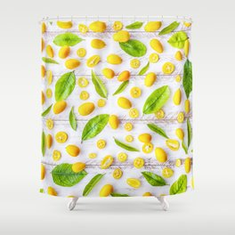 Fruits and leaves pattern (22) Shower Curtain