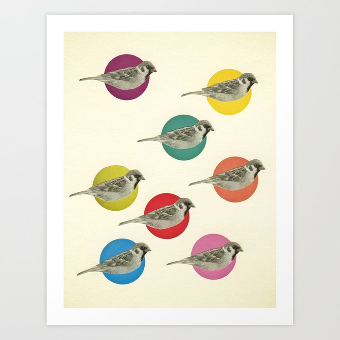 Gathering Sparrows Art Print