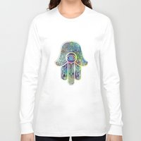 hamsa Long Sleeve T-shirts featuring Hamsa by Klara Acel