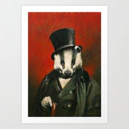 Victorian Mr Badger Art Print
