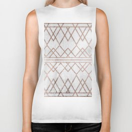 Chic & Elegant Faux Rose Gold Geometric Triangles Biker Tank